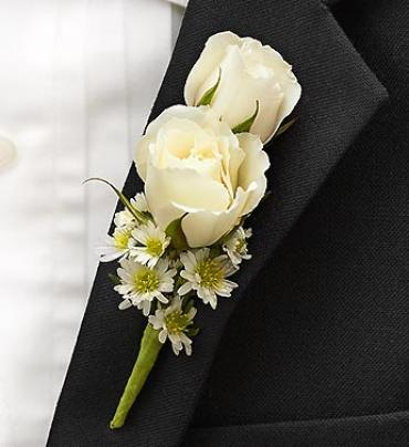 All White Double Rose Boutonnière