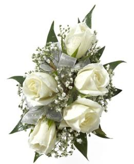 White Sweetheart Rose Corsahe